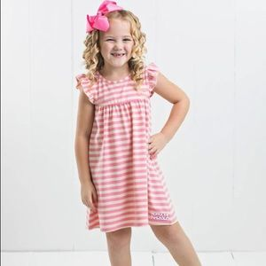 Ruffle Girl Dresses - Ruffle Girl Pink & Cream Core Stripe Pearl Dress